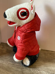 Target Bullseye Dog Red Puffer Jacket With Jeans $12.95