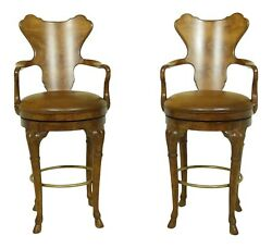 32846EC: Pair CENTURY Swivel Bar Counter Chairs w. Leather Seats $1295.00