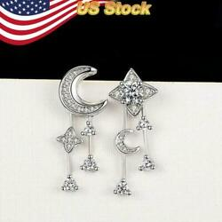 Matching 925 Silver Plated Drop Earrings Moon Star for Women White Sapphire $3.99