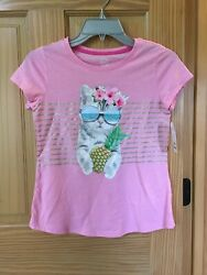 New Wonder Nation Kitty Floral Shirt Top Girls Pink many sizes $10.91