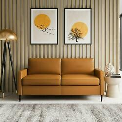 Contemporary Modern Living Room Sofa Couch With Soft Faux Leather Camel Color $399.92