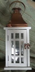 COPPER TOP White painted Wood amp; Glass LANTERN Hinged Door Vent ARTS amp; CRAFTS  $23.95