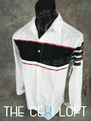 Mens Extended Shirt White Button Patches Long Sleeve JEWEL HOUSE $25.95