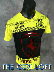 Mens Extended T Shirt Yellow GRAND PRIX Racing RAISED 3D FOIL VICTORIOUS Zips $21.95