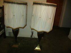Vintage lamps with shades 1 pair circa 1960very good condition $40.00