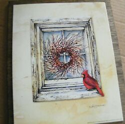 RUSTIC WINDOW berry wreath cardinal country rustic wall floral decor sign $10.75