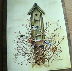 Rustic birdhouse berry wreath CHICADEE country rustic wall floral decor sign $10.75