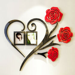 50*50cm Love Rose Wall Decals 3D DIY Photo Frame Wall Sticker Home Decor Gift $6.97