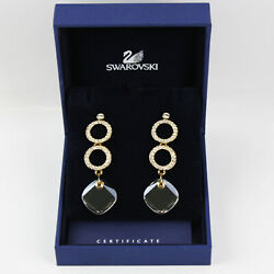 Authentic SWAROVSKI Etoile Crystal And Gold Plated Pierced Earrings 0933624 NIB $49.00