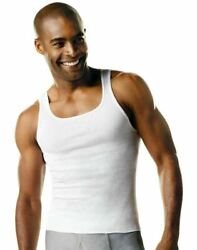 Hanes Men#x27;s Big and Tall White Ribbed Tank Top Undershirt 4 Pack $27.99