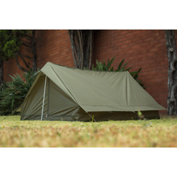 new French Tent Army Military Surplus Ground Troop 2 Man F1 Pup OD w watch cap $64.95