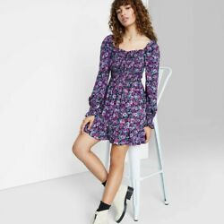 Women#x27;s Floral Print Long Sleeve Smocked Top Short Dress Wild Fable Purple M $12.49