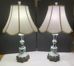 Large Pair Of Bohemian Hand Painted White Cased Cut to Green Glass Antique Lamps $450.00