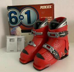 Roces Idea 6 In 1 Kids Adjustable Ski Boots US 13 jr 3 Red amp; Black with Box $76.99