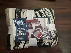 Never Used Kids Star Wars Embroidered Twin Quilt Set Millennium Falcon OOP $75.00