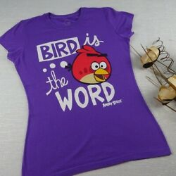 Angry Birds Women#x27;s T Shirt Purple Graphic Tee Novelty Size Juniors Large $9.99
