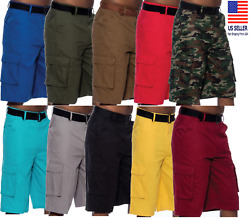 Mens Cargo Shorts Casual Multi Pocket Twill Breathable Belted Shorts Outdoors $19.96
