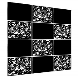 LRZCGB Hanging Room Divider12pcs PVC Black Solid and Cut Panel Screen for Study $46.82