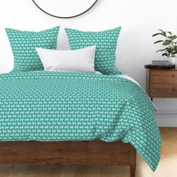 Dog Dogs Dog Great Pyrenees Turquoise Pets Dog Sateen Duvet Cover by Roostery $204.00