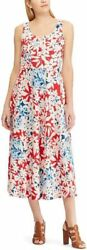 NEW Chaps Womens Fun Lace Up Fit Flare Cotton Tropical Floral Red Dress L 12 14 $22.99