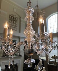 Antique Chandelier 5 arm with Bobeche's and Pendalogue Prism's $235.00