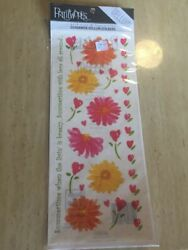 Scrapbooking Vellum Flower Stickers with Sunflowers and saying cheerful spring $3.00