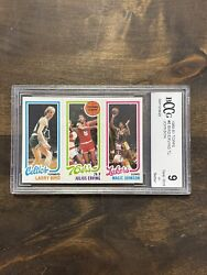 1980 Topps Larry Bird amp; Magic Johnson RC With Dr.J BCCG Grade 9 Rookie $11000.00