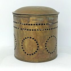 Vintage Decorative Brass Container with Lid Distressed Antique Look Hole Pattern $14.95