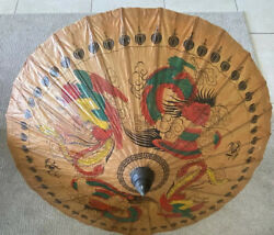 Antique Chinese Old Hand Painted Woodamp;paper Dragons Parasol $99.00