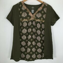 St. John#x27;s Bay Short Sleeve Pull On Top Size Large $15.88