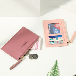 Ladies Gift Mini Business Wallet Pure Color Short Purse Credit Card Holder $6.47