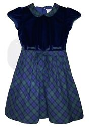 EUC Girl#x27;s Fleurisse Formal Holiday Party Dress Size 10Y Blue Green Plaid $50.00