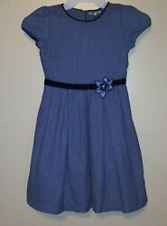 EUC Girl#x27;s Fleurisse Formal Holiday Party Dress Size 10Y Blue Check Print $50.00