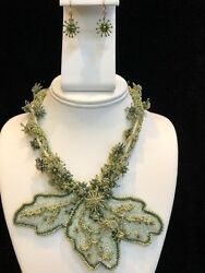 Intricate Hand Beaded Shades of Green Necklace amp; Earrings Set Local NC Artist $69.95
