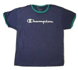 champion men short sleeves t shirt blue green multi colored size large $9.98