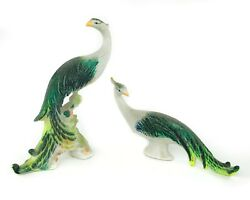 Mid Century Modern Peacock Porcelain Figurines Colorful Glitter Finish 1960s $48.00