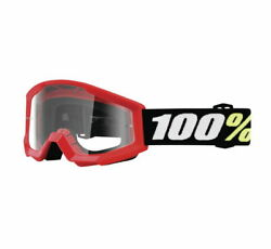 New 100% Strata Mini Goggles Red W Clear Lens 100% Motorcycle Rider Goggles $17.00