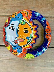 SUN and MOON Mexican Talavera Pottery Hand Painted Wall Sun and Moon Eclipse $29.99