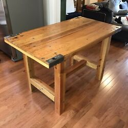 Industrial Factory Table Vintage Warehouse Cart Counter Height Antique $300.00