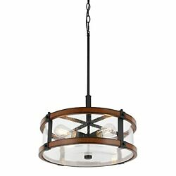 4 Lights Drum Chandelier Round Farmhouse Rustic Chandelier Lighting with $69.61