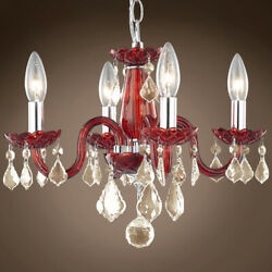 JOSHUA MARSHAL 701417 005 Victorian Design 4 Light 15 Red Chandelier With $194.00
