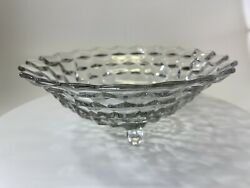 Heavy Vintage Antique Crystal Glass Footed Centerpiece Fruit Display Bowl $35.00