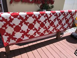 Old Antique Red amp; White Geometric Quilt With Red Border Striped Backing Handmade $200.00