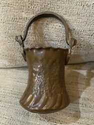 VINTAGE RUSTIC ETCHED SMALL COPPER BUCKET WITH HANDLE $40.00
