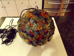 Vintage MCM Retro Lucite Ribbon VERY COLORFUL Hanging Swag Light Lamp $224.99