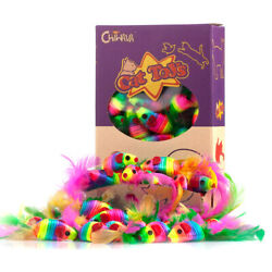 24PCS 1.8quot; Rattle Cat Toys Mice Rainbow Color Mouse with Feather Interactive Toy $9.98