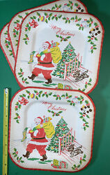 """4 Vintage Reed#x27;s Party Plates Christmas Santa Claus Paper Tree Scottie Dog 8"""" $14.99"""