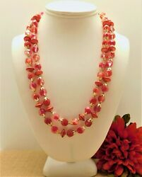 VINTAGE 1950#x27;s CHERRY RED LUCITE BEAD DOUBLE ROW 20quot; NECKLACE $16.99