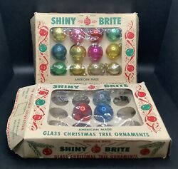"""Lot of 15 Vintage Shiny Brite GLASS 1"""" Mini Christmas Tree Ornaments FOR CRAFTS $9.99"""