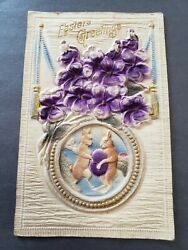 1915 VICTORIAN EASTER POSTCARD EMBOSSED HAND PAINTED $16.44